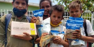 Venezuelan children receive FTN Manna packs through your donations.